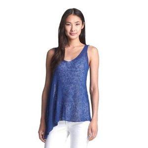 Eileen Fisher blue open knit tank size S Flaws